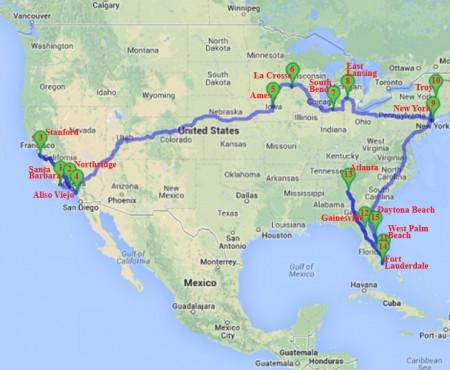 ERSO Ameerikas 2013. Alus Google Maps, täiendatud ERSO 2013. aasta Ameerika-turnee kontserdipaikadega.