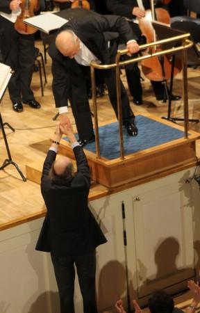 Helilooja Arvo Pärt ja dirigent Neeme Järvi.